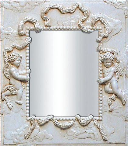 Miroirs et trumeaux Daniel Mourre - Specchio-Miroirs et trumeaux Daniel Mourre-Angelots écru