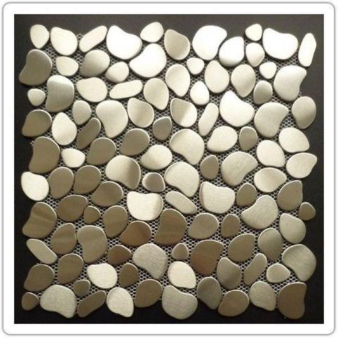 TOOSHOPPING - Piastrella a mosaico-TOOSHOPPING-Crédence Carrelage inox Mosaique Inox Galet Round